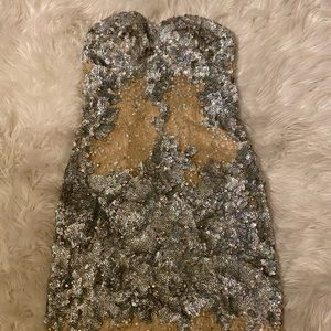Strapless POSH silver sequined dress.